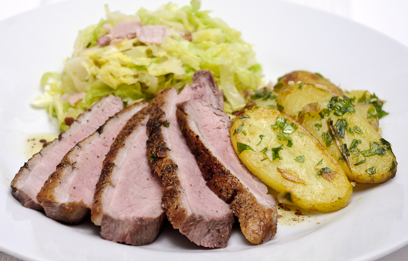 duck with savoy cabbage foodsnaps