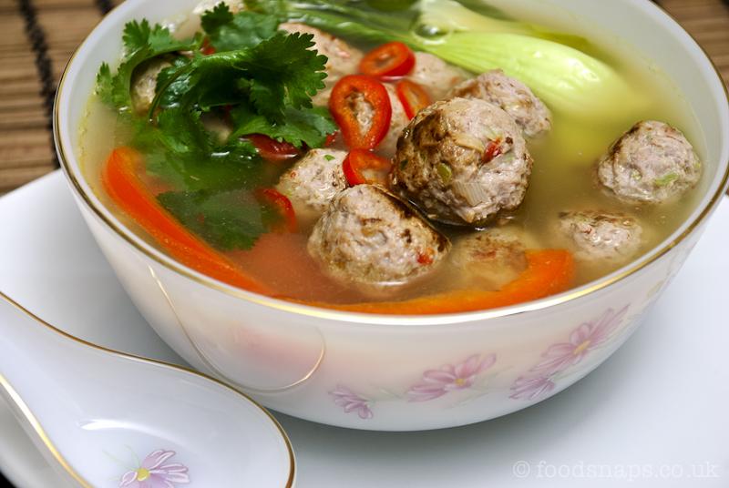 ... pork chili food food photography meatballs pak choi pork soup spicy