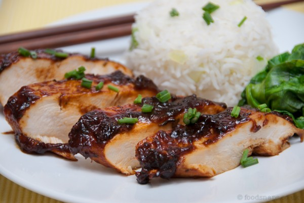 Sweet mango chutney chicken with steamed rice