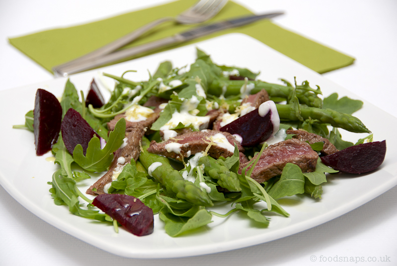 Steak, asparagus and beetroot salad