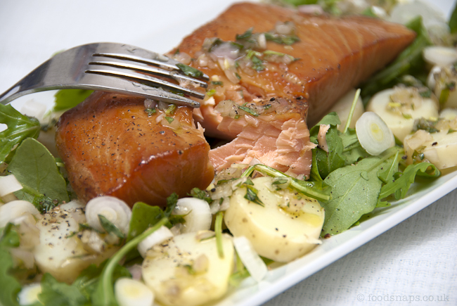 Hot-smoked salmon with warm new potatoes
