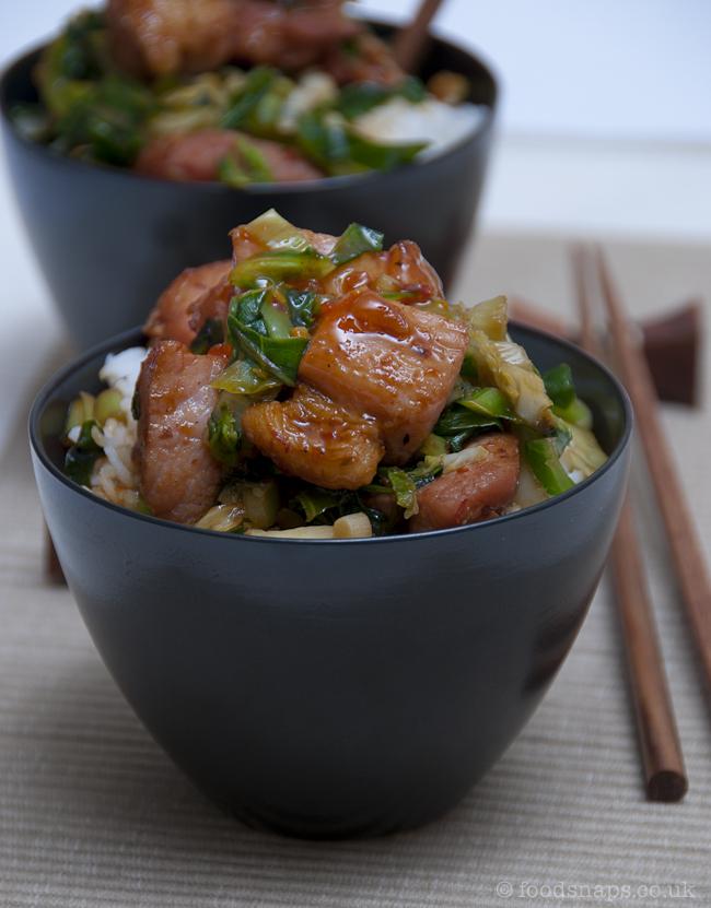 Stir-fried greens with sweet chilli ham