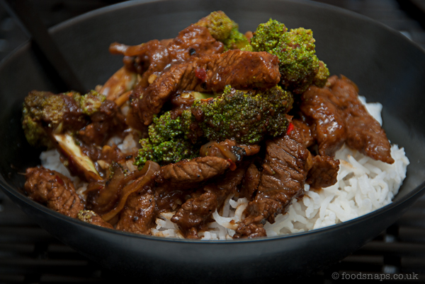 Stir fried chilli beef with broccoli and steamed rice