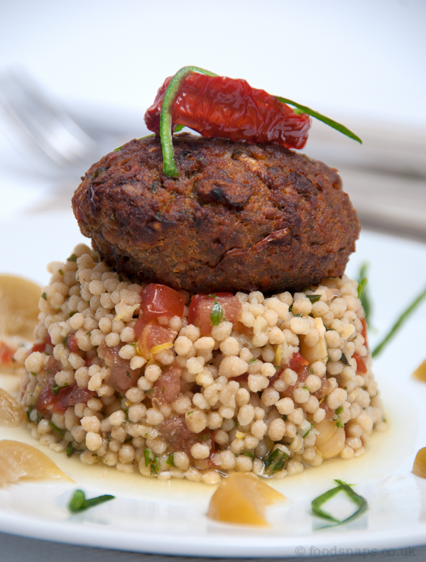 Maftoul with grilled kofte